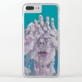 Portrait of a Woman on Blue Clear iPhone Case
