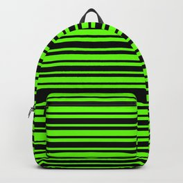 Bright Green and Black Horizontal Var Size Stripes Backpack