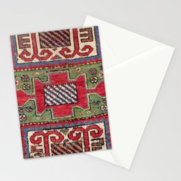 Striped Diagonal Line Motif // 19th Century Authentic Colorful Dark Emerald Green Accent Pattern Stationery Cards