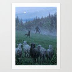 Shepherd and his faithful dog Art Print
