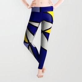 Geometric Scandinavian Design II - Navy, Blue, Yellow and White Leggings