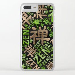 Zen Symbol and word pattern gold and green Clear iPhone Case