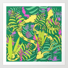 Bohemian Green Tropical Jungle Snakes Art Print
