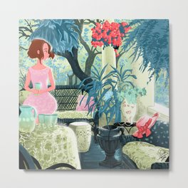 Flowered terrace Metal Print