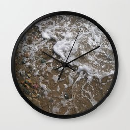 Wave Foam and Beach Rocks Wall Clock