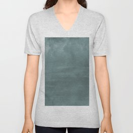 Cool Tropical Blue-Green Abstract Watercolor Blend 2021 Color of the Year Aegean Teal 2136-40 Unisex V-Neck