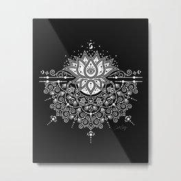 Sacred Lotus Blossom Mandala – White on Black Metal Print