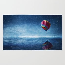 fly over the sea Rug