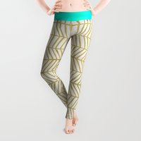 geometric Leggings featuring Gold Herringbone by Cat Coquillette