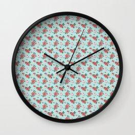 Blue Cupcake Florals Wall Clock