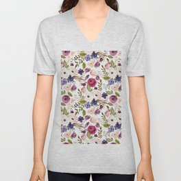 Violet pink yellow green watercolor modern floral pattern Unisex V-Neck