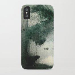 Last Kiss: a minimal, abstract watercolor piece in greens iPhone Case