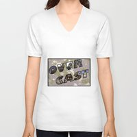 postcard V-neck T-shirts featuring OverCast Postcard by OverCastMC