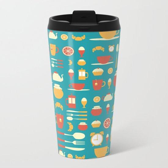 Breakfast Pattern Metal Travel Mug