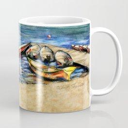 Boats On Lake McDonald Watercolor Coffee Mug