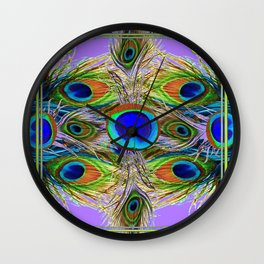 NOUVEAU BLUE-GREEN PEACOCK FEATHERS ON LILAC Wall Clock