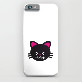 One Tooth Black Cat Confounded Kitten Face iPhone Case