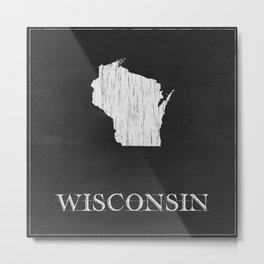Wisconsin State Map Chalk Drawing Metal Print
