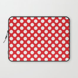 White Polka Dots with Red Background Laptop Sleeve