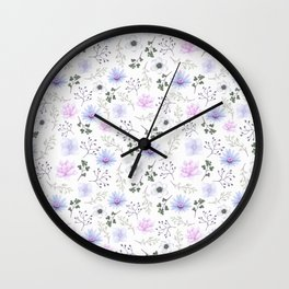 Girly blush pink lavender green watercolor floral Wall Clock