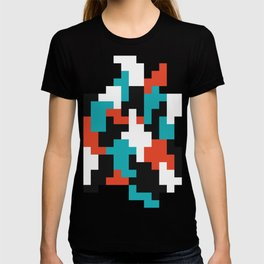 Colour blocking shapes red, teal T-shirt