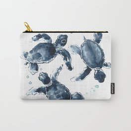 Turtle Swimming Sea Turtles indigo blue turtle art Carry-All Pouch