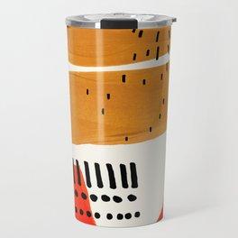 Mid Century Modern Abstract Minimalist Retro Vintage Style Fun Playful Ochre Yellow Ochre Orange Sha Travel Mug