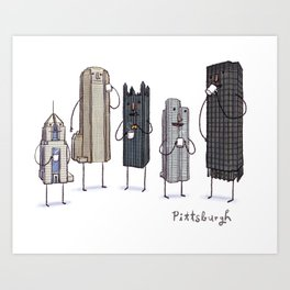 Pittsburgh Skyline Coffee Break- art print  Art Print