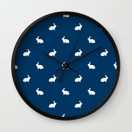Rabbit silhouette minimal navy and white basic pet art bunny rabbits pattern Wall Clock
