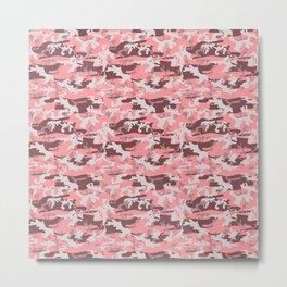 Military Camouflage Pattern - Pink Brown Gray  Metal Print