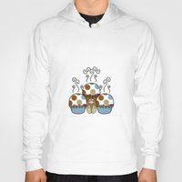 polkadot Hoodies featuring Cute Monster With Blue And Brown Polkadot Cupcakes by Mydeas