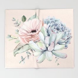 Elegant Blush Pink Succulent Garden by Nature Magick Throw Blanket