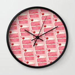 Cherry Cake Pattern - Pink Wall Clock