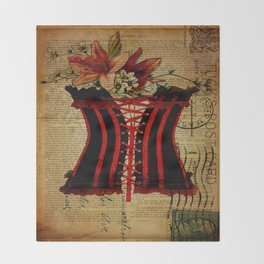 elegant girly newspaper print sexy black red corset vintage paris eiffel tower art Throw Blanket