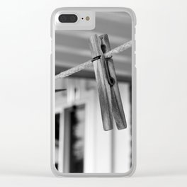 Clothespins on a Line Clear iPhone Case