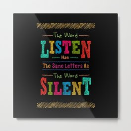 Lab No. 4 The Word Listen Alfred Brendel Motivational Quote Metal Print