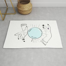 Believe in magic crystal ball,white background Rug