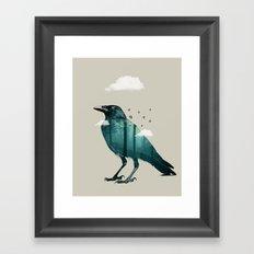 Teal Raven Framed Art Print
