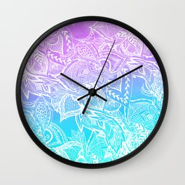 Modern purple turquoise mermaid watercolor floral white boho hand drawn pattern Wall Clock
