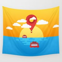 ballon Wall Tapestries featuring Night Fall by Febrian89