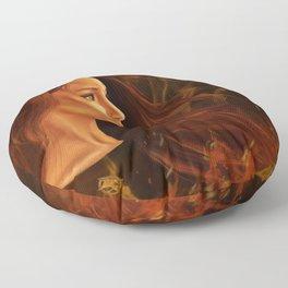 Girl in Flames Floor Pillow