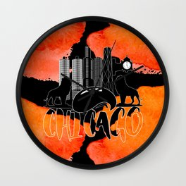 Chicago Iconic Landmarks Abstract Cityscape Wall Clock