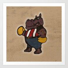 Hippo Pugilist Art Print