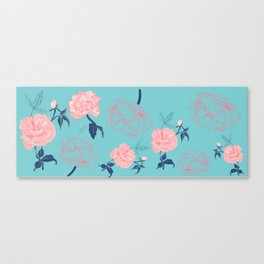 Vintage roses and peonies with indigo palette Canvas Print