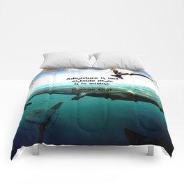 Adventure Wisdom Quotation With Underwater Scene Painting Comforters