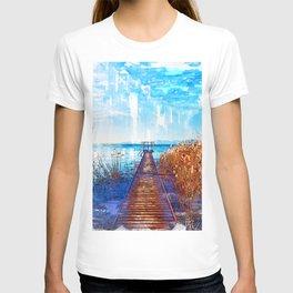 Lake Jetty In Veneto Italy - Jetties Around The World T-shirt