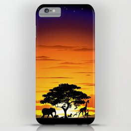 Wild Animals on African Savanna Sunset iPhone Case
