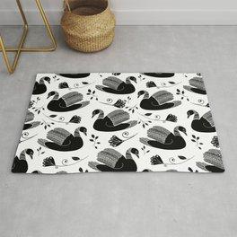Black swan silhouette digitally drawn pattern #folk art #swan pattern #monochrome Rug
