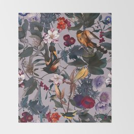 Floral and Birds XL Throw Blanket