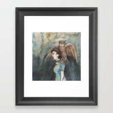 Girl with An Imaginary Owl Framed Art Print